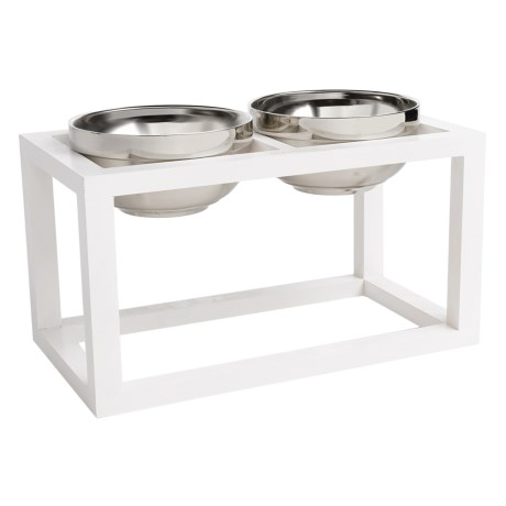 "Doghaus Wood Frame Elevated Dog Bowls - 3-Piece, 6"" in White"