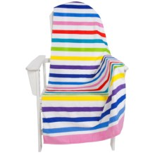 "Dohler USA Printed Beach Towel - Cotton Velour, 30x60"" in Multi Horizontal Stripe - Closeouts"