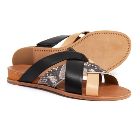 60707312059 Dolce Vita Perez X-Band Flat Wedge Sandals (For Women) in Black Multi