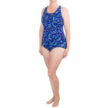 Dolfin Aquashape Conservative Lap Swimsuit - UPF 50+, Built-In Shelf Bra (For Women) in Blu Bali - Closeouts
