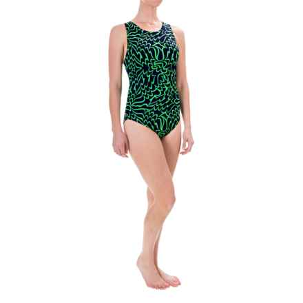 Dolfin Aquashape Conservative Lap Swimsuit - UPF 50+, Built-In Shelf Bra (For Women) in Green Solsti - Closeouts
