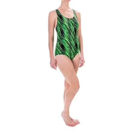 Dolfin Aquashape Conservative Lap Swimsuit - UPF 50+, Built-In Shelf Bra (For Women) in Green Stormy - Closeouts