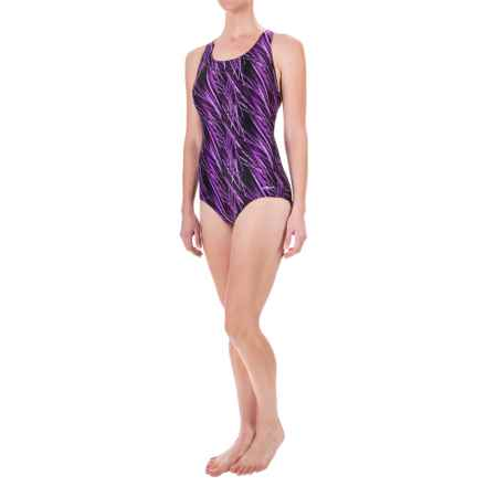 Dolfin Aquashape Conservative Lap Swimsuit - UPF 50+, Built-In Shelf Bra (For Women) in Purple Stormy - Closeouts