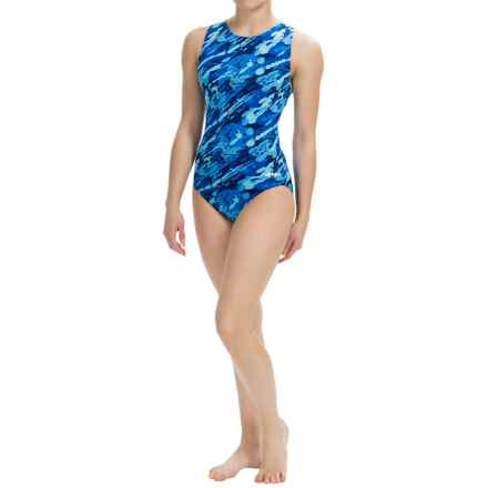Dolfin Aquashape Moderate Lap Swimsuit - UPF 50+ (For Women) in Marina Blue - Closeouts