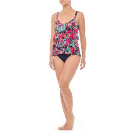 Dolfin Aquashape Ruffle Tier One-Piece Swimsuit - UPF 50+, Removable Cups (For Women) in Eden Pink - Closeouts