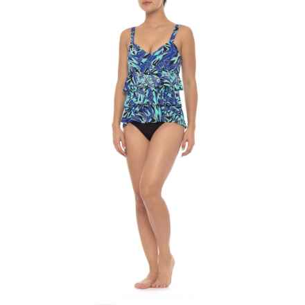 Dolfin Aquashape Ruffle Tier One-Piece Swimsuit - UPF 50+, Removable Cups (For Women) in St. Lucia Blue - Closeouts