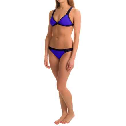 Dolfin Bellas Mesh and Color-Blocked Bikini Set - UPF 50+, Removable Cups, Brief Bottoms (For Women) in Blue - Closeouts