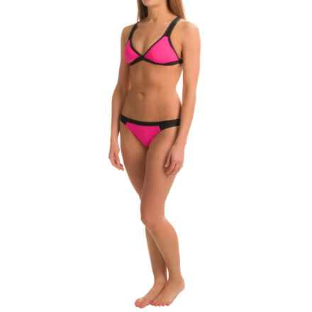 Dolfin Bellas Mesh and Color-Blocked Bikini Set - UPF 50+, Removable Cups, Brief Bottoms (For Women) in Pink - Closeouts