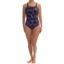 Dolfin Chloroban® DBX Back Competition Suit - UPF 50+ (For Women) in Purple Zone Print - Closeouts