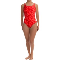 Dolfin Competition Suit - 1-Piece, HP Racerback (For Women) in Red Rubix Print