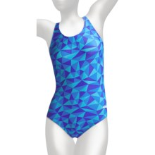 Dolfin Competition Suit - 1-Piece, HP Racerback (For Women) in Rubix Blue - Closeouts