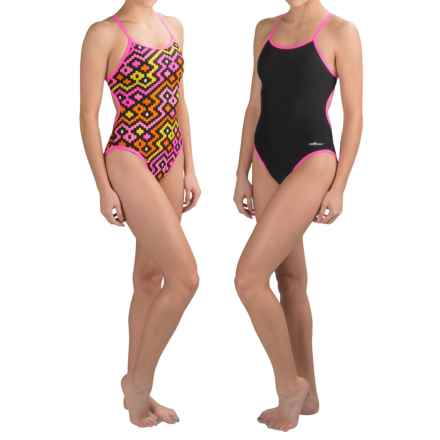 Dolfin Competition Swimsuit - Reversible, String Back (For Girls and Women) in Alero Pink - Closeouts