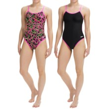 Dolfin Competition Swimsuit - Reversible, String Back (For Girls and Women) in Elektra Pink - Closeouts
