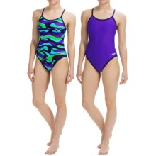 Dolfin Competition Swimsuit - Reversible, String Back (For Girls and Women) in Vortex Blue/Purple - Closeouts