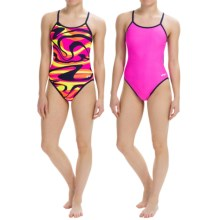 Dolfin Competition Swimsuit - Reversible, String Back (For Girls and Women) in Vortex Orange/Pink - Closeouts