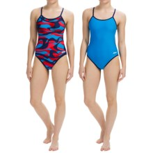Dolfin Competition Swimsuit - Reversible, String Back (For Girls and Women) in Vortex Red/Blue - Closeouts