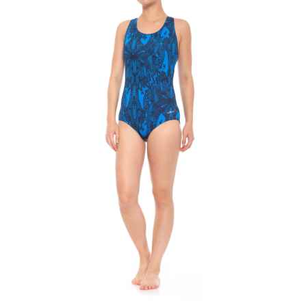 Dolfin Conservative Lap One-Piece Swimsuit - UPF 50+, Padded Cups (For Women) in Lacey Blue - Closeouts