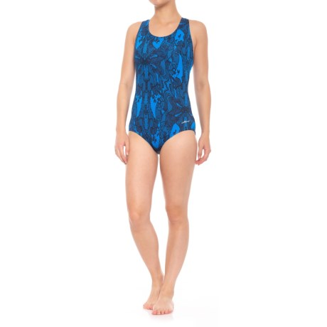 Dolfin Conservative Lap One-Piece Swimsuit - UPF 50+, Padded Cups (For Women) in Lacey Blue