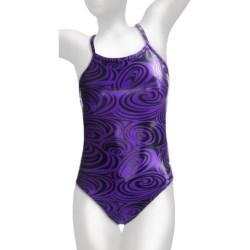 Dolfin Disco Competition Swimsuit - V-2 Back (For Women) in Sapphire