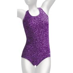 Dolfin Ocean Aquashape Conservative Swimsuit - Chloroban, UPF 50 (For Women) in Tracks Purple