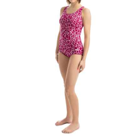 Dolfin Ocean Aquashape Conservative Swimsuit - Chloroban, UPF 50 (For Women) in Solara Berry - Closeouts
