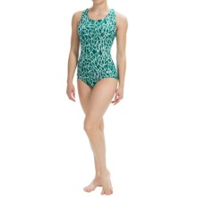 Dolfin Ocean Aquashape Conservative Swimsuit - Chloroban, UPF 50 (For Women) in Solara Emerald - Closeouts