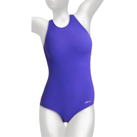 Dolfin Ocean Aquashape Lap Swimsuit - Clap Back, UPF 50+ (For Women) in Purple