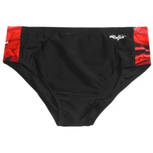 Dolfin Print Racer Brief Swimsuit (For Men) in Red - Closeouts
