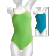 Dolfin Solid Competition Swimsuit - 1-Piece, Cross Back (For Women) in Lime/Turquoise - Closeouts