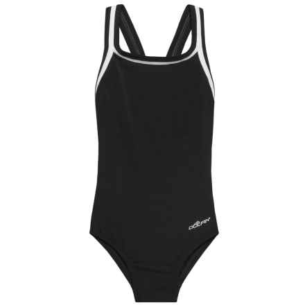 Dolfin Solid DBX Back Competition Swimsuit - UPF 50+ (For Big Girls) in Black - Closeouts