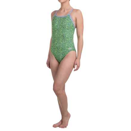 Dolfin Uglies Practice Swimsuit (For Girls and Women) in Green/Blue Paisley - Closeouts