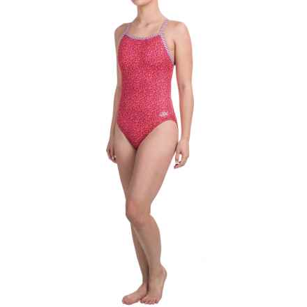 Dolfin Uglies Practice Swimsuit (For Girls and Women) in Orange/Magenta Paisley - Closeouts