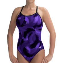 Dolfin V-2 Back Competition Swimsuit (For Women) in Purple Cyclonic Print - Closeouts