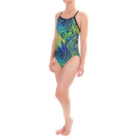 Dolfin Winners V-Back Competition Swimsuit (For Women) in Vanquish Blue/Green - Closeouts