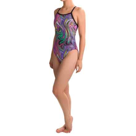 Dolfin Winners V-Back Competition Swimsuit (For Women) in Vanquish Mint/Pink - Closeouts