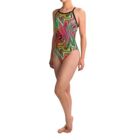 Dolfin Winners V-Back Competition Swimsuit (For Women) in Vanquish Neon - Closeouts