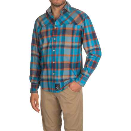 Dolly Varden Wasatch Flannel Shirt - Long Sleeve (For Men) in Blue/Copper - Closeouts