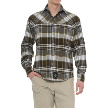 Dolly Varden Wasatch Flannel Shirt - Long Sleeve (For Men) in Teak/Yellow