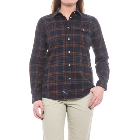 Dolly Varden Wasatch Shirt - UPF 30+, Long Sleeve (For Women) in Navy/Camel