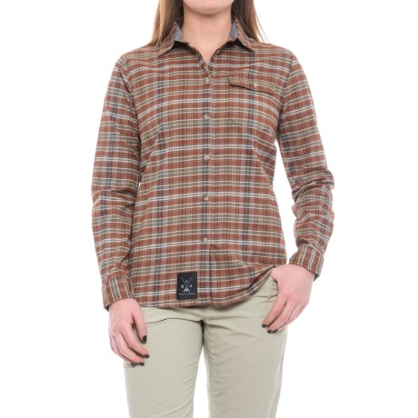 Dolly Varden Wasatch Shirt - UPF 30+, Long Sleeve (For Women) in Rust/Tan/Pine