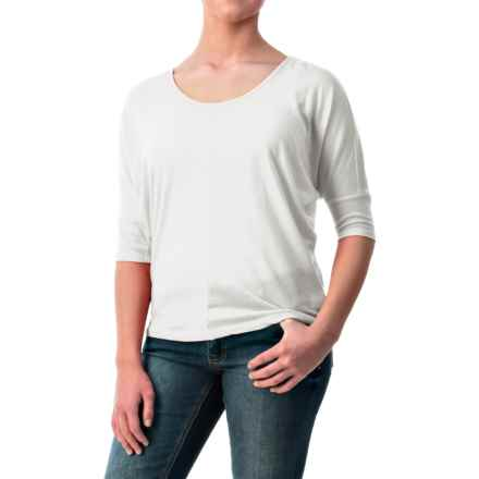 Dolman Sleeve Shirt - Cotton-Modal, Short Sleeve (For Women) in White - 2nds
