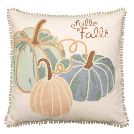 Domain Hello Fall Feather Filled Throw Pillow - 20x20 in Blue - Closeouts