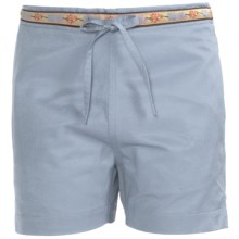 Donna Nicole Drawstring Waist Shorts (For Little Girls) in Summer Blue - Closeouts