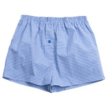 Donna Nicole Printed Boxer Shorts - Cotton Poplin (For Women) in Blue/Light Blue Mini Check - Closeouts