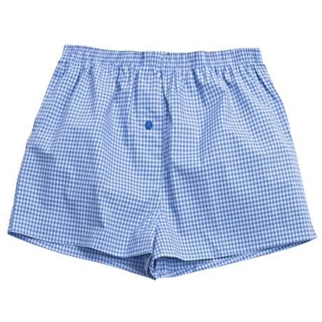 Donna Nicole Printed Boxer Shorts - Cotton Poplin (For Women) in Blue/Light Blue Mini Check
