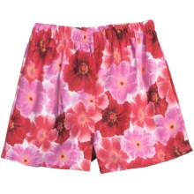 Donna Nicole Printed Boxer Shorts - Cotton Poplin (For Women) in Pink/Red Poppies - Closeouts