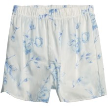Donna Nicole Printed Boxer Shorts - Cotton Poplin (For Women) in White/Light Blue Floral - Closeouts