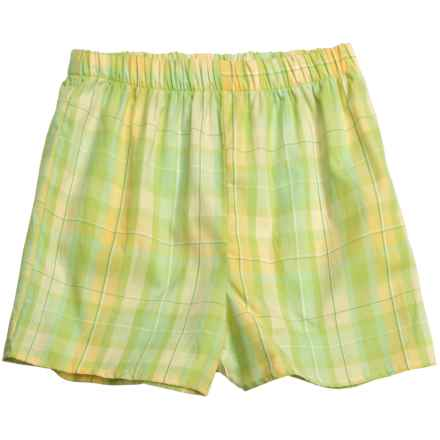 Donna Nicole Printed Boxer Shorts - Cotton Poplin (For Women) in Yellow/Green Plaid - Closeouts