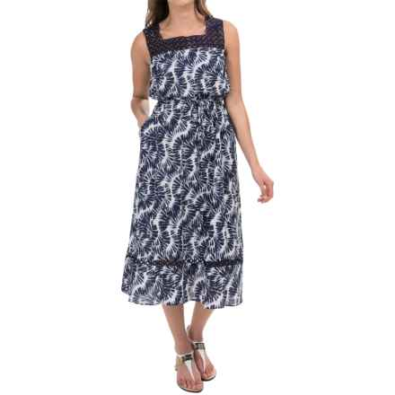 Donna Ricco Lace Square Neck Printed Midi Dress - Sleeveless (For Women) in China Blue/White - Closeouts