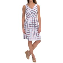 Donna Ricco Printed Basket-Weave Dress - Sleeveless (For Women) in Ivory/Navy - Closeouts